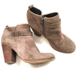 Franco Fortini tan suede ankle bootie size 7.5